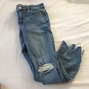 Distressed ankle crop joe jeans